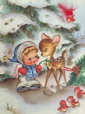 Vtg Christmas Card with Deer Girl Fawn Pulling Tree Birds 1940s 40s Greeting
