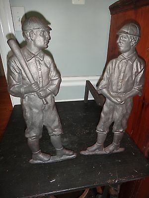 "Antique NOS ""Baseball Dogs"" Cast Iron Figural Andirons Guaranteed Authentic Look"