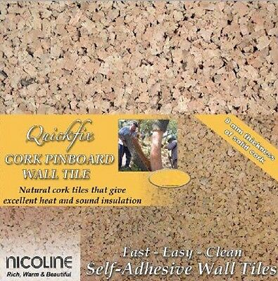 QUICKFIX NICOLINE CORK WALL TILES PINBOARD SELF ADHESIVE 8mm THICK Buy 1 to 40+