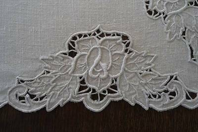 Vintage Linen Tablecloth Cutwork Embroidered Roses Needle Lace Flowers Ecru 43""