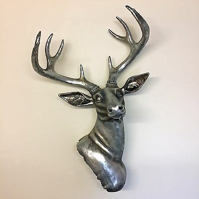 Wall Mounted Silver Stag Head Deer Large Antlers Wall Art Hanging Sculpture NEW