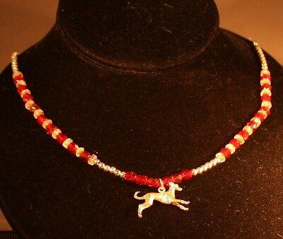 "Greyhound 3 Dimentional  Sterling Silver Charm 21"" Siam Ruby Beaded Necklace"