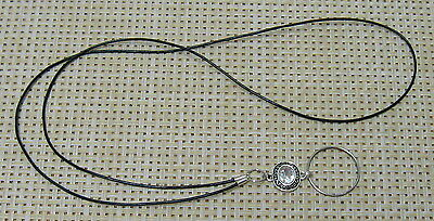 Black Leather Silver Rhinestone BLING - Handmade Beaded ID Badge Holder Lanyard
