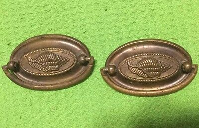 Two ~ Vintage ~ Original ~ Brass ~ Draw Pulls
