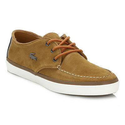 Lacoste Mens Tan Brown Sevrin 2 LCR Suede Shoes Lace Up Boat Casual Style