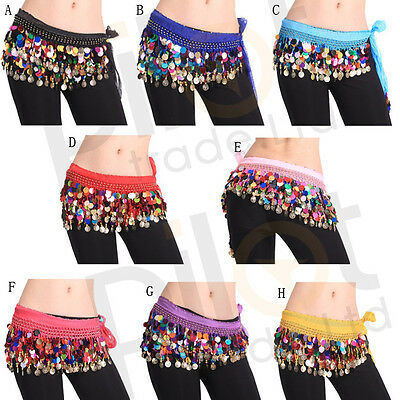 Chiffon Belly Dance Costume Rows Colorful Coin Sequins Hip Scarf Skirt WrapUS