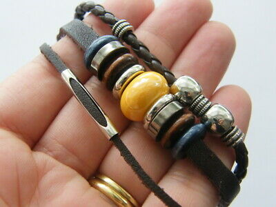 1 Leather coffee tri layer bead bracelet NB6