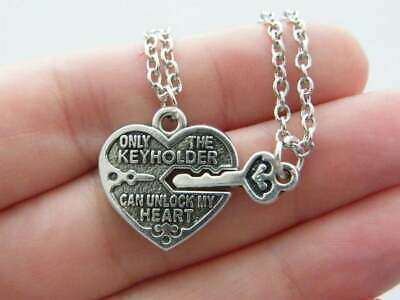 1 Heart lock and key charm antique silver tone M498