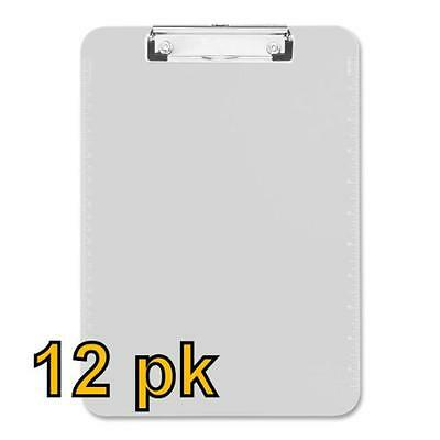 Value Pack of 12 - Low Profile Plastic Clipboards, letter size (Clear), New, Fre