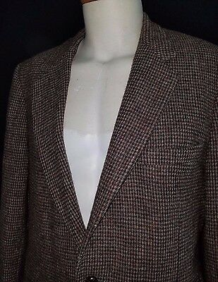 Mens Handwoven Vintage HARRIS TWEED Two Button Wool Blazer Made in USA Size 42L