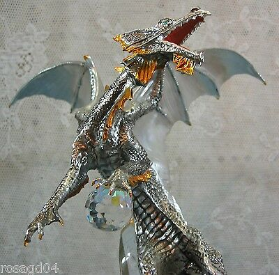 Franklin Mint Accented Sterling Silver Dragon & Crystal Sculpt by Michael Whelan