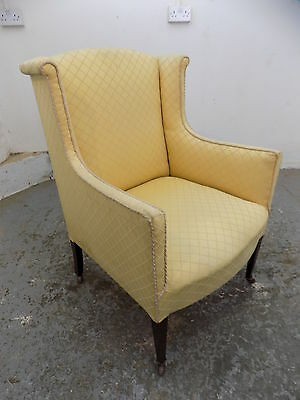 wing back,arm chair,wood legs,castors,yellow,chair,antique,small,edwardian