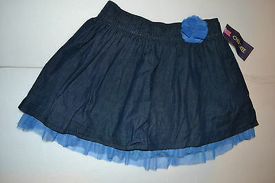 Girls Cherokee  Jean Skirt With Flower& Lace Ruffle- Size S 6/6X M 7/8 Nwt