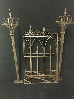 "Antique Victorian Styled Metal Latched Gate With Posts , Pair 51"" Tall The Posts"