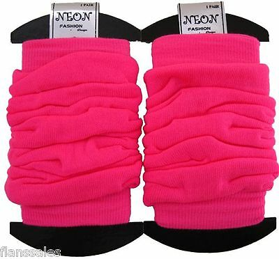 Ladies quality neon pink Retro UV Neon Pink Crinkled Look Leg Warmers .