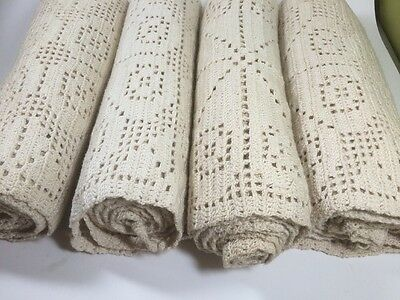 (4) 7ft Vintage Crotchet Lace Table Runners Antique White Wedding Shower