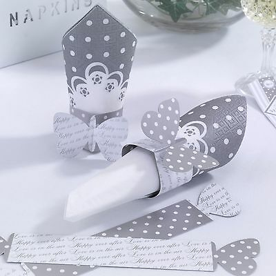 Pack of 10 - Chic Boutique White & Silver Napkin Rings - Party - Wedding - NEW