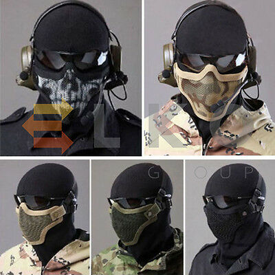 Airsoft Steel Mesh Half Face Mask Tactical Protect Strike Paintball Halloween UK