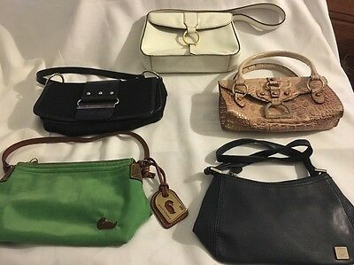 Lot Of 5 Designer Handbag Purses Dooney & Bourke,Franklin Covey,Guess,Liz