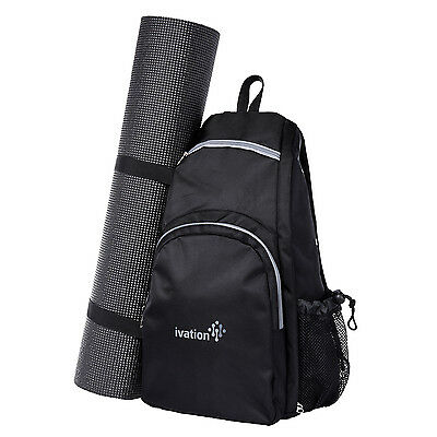 Yoga Mat Backpack Sport Bag Exercise Fitness Travel Gym Hiking Biking - Black