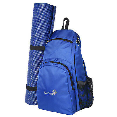 Yoga Mat Backpack Sport Bag Exercise Fitness Travel Gym Hiking Biking - Blue