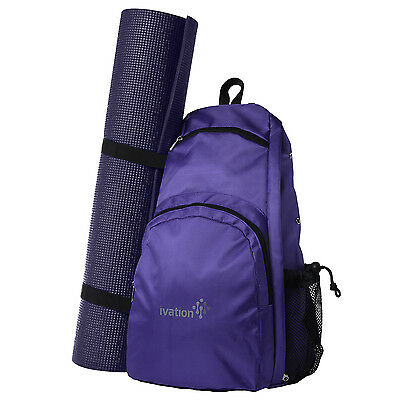 Yoga Mat Backpack Sport Bag Exercise Fitness Travel Gym Hiking Biking - Purple