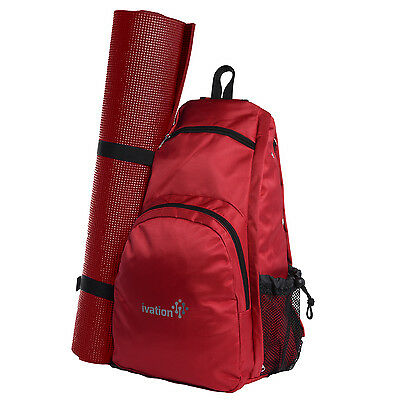Yoga Mat Backpack Sport Bag Exercise Fitness Travel Gym Hiking Biking - Red