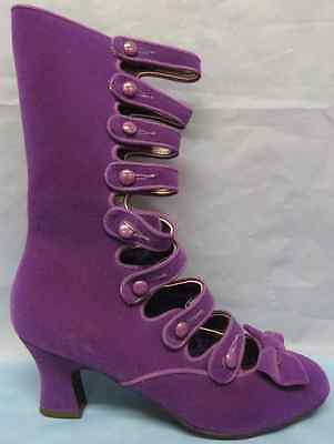 Whimsey Boots Victorian Purple Velvet Fancy Dress Up Halloween Costume Accessory