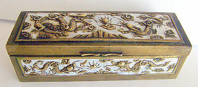 1930 Chinese Brass Stamp Box Large Size With Dragons Decor In High Relief Look