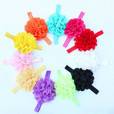 12pcs Lovely Girl Baby Toddler Infant Flower Headband Hair Bow Band Accessories