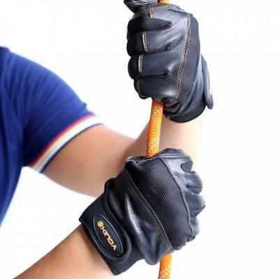 Black Real Leather Outdoor Rock Tree Wall Climbing Rappel Anti-slip Gloves L-XL