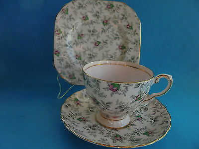 Vintage Tuscan Trio Teacup Saucer And Plate Pink With Pink Roses