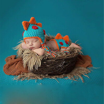 Baby Infant Newborn Dinosaur Knit Costume Photography Prop Crochet Hat Outfits