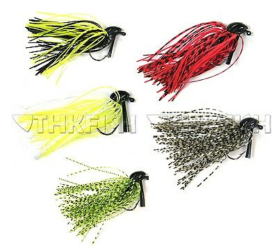 5 Pcs 7g /10g (1/4oz) (3/8oz)Mixed Colour Fly Rubber Swim Bass Jig Fishing Lures