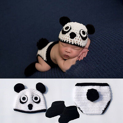 Cute Crochet Panda Style Hat Clothes Shoes Photo Photography Prop 0-6 Month Baby