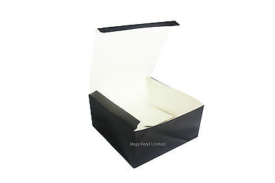 Black Disposable Takeaway Cardboard Burger Boxes Fast Food Packaging BBQ Parties