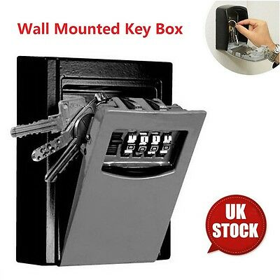 Outside Key Safe Box Combination Security Keys Lock Wall Mounted Holder Car Home