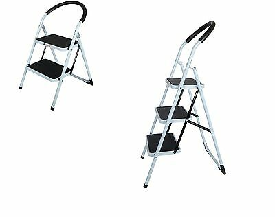 Foldable Non Slip 2 / 3 Step Steel Ladder Tread Stepladder Safety Handrail Rail