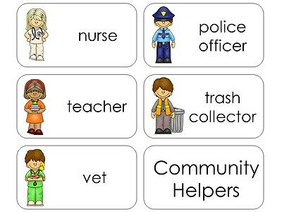 11 Laminated Community Helpers Flashcards.  Educational learning activity for sc