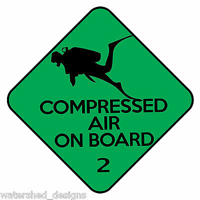 Scuba Diving Decal compressed air Cylinder On Board Scuba Sticker