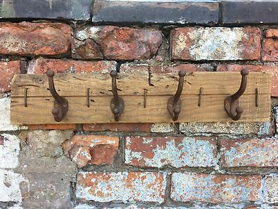 Rustic Country Style Chunky Wood Coat Hanger 4 Hook Metal Distressed Aged Look