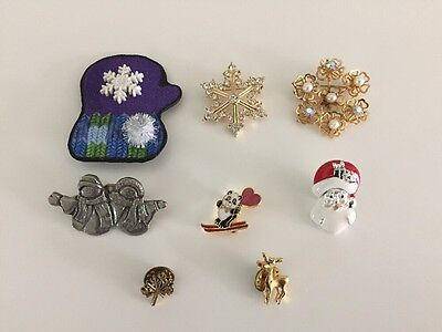 VTG Lot of 8 Winter and Christmas Pins Snowflakes Ski Avon Brooch Rudolph Deer