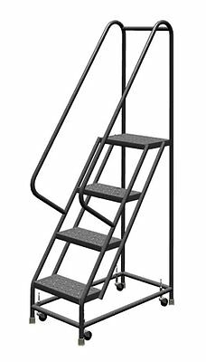 4 Step Ladder Steel Rolling Handrails Industrial Warehouse Office Sturdy Durable