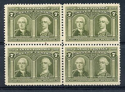 Weeda Canada 100 VF mint NH block of 4, 7c Montcalm & Wolfe Quebec issue CV$3000