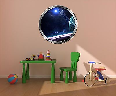 """24"""" Porthole Space Window STARS & PLANETS #2 SILVER Wall Decal Sticker Graphic"""