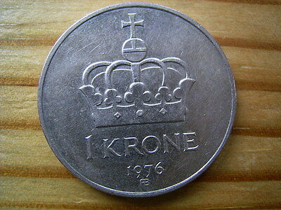 1976 Norway 1 krone coin collectable
