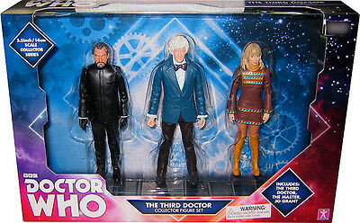 """Doctor Who 5"""" 3rd Dr, Jo Grant, and the Master Action Figures lot Exclusive Set"""