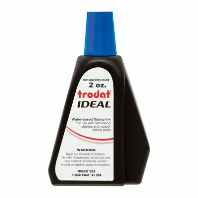 Blue Self-inking Stamp Ink, 2 Oz Drip Spout Bottle, for Trodat Ideal Stamps