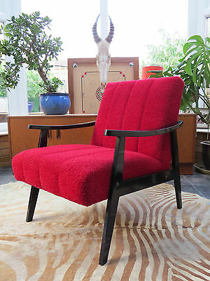 A Red German / Danish Style Cocktail Lounge Arm Chair C1970 Jy16/25