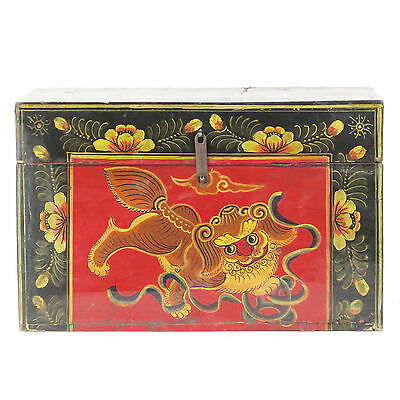 """Antique Chinese 20"""" wide Small Black Trunk w colorful Foo Dog Painting on Front"""
